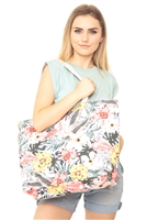 S28-1-5-MB0120 - TROPICAL HISBISCUS FLAMINGO TOTE BAG /6PCS