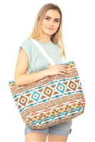 S28-9-2-MB0121BR-TQ - LEOPARD TRIBAL TOTE BAG-BROWN-TURQUOISE/6PCS