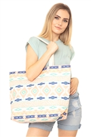 S28-8-2-MB0121CO-MT - LEOPARD TRIBAL TOTE BAG-CORAL MINT/6PCS
