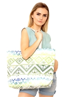 S28-2-5-MB0122GN-NV - COLORFUL TRIBAL TOTE BAG-GREEN NAVY/6PCS