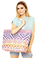 S28-2-5-MB0122NV-RD - COLORFUL TRIBAL TOTE BAG-NAVY RED/6PCS