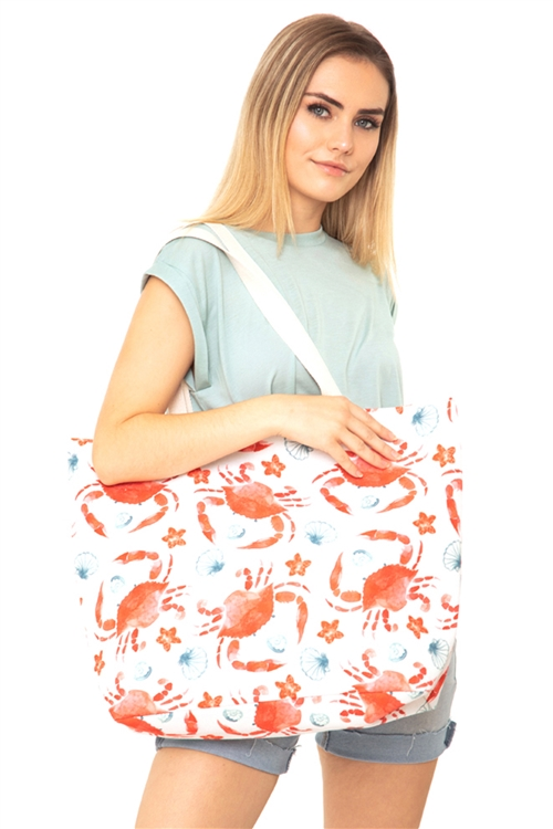 S28-1-5-MB0123 - CRAB WATER COLOR TOTE BAG /6PCS