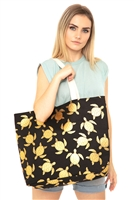 S28-3-5-MB0124BK - GOLD FOIL TURTLE TOTE BAG BLACK/6PCS