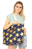 S28-1-4-MB0124NV - GOLD FOIL TURTLE TOTE BAG NAVY/6PCS