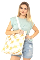 S28-1-4-MB0124WH - GOLD FOIL TURTLE TOTE BAG WHITE/6PCS