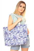 S28-2-5-MB0125NV - PAISLEY TOTE BAG NAVY/6PCS