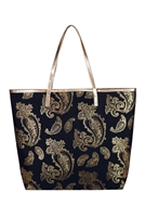S29-2-5-MB0126BK - GOLD FOIL PAISLEY TOTE BAG BLACK/6PCS