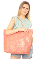 S28-8-2-MB0126CO - GOLD FOIL PAISLEY TOTE BAG CORAL/6PCS