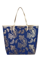 S28-8-2-MB0126NV - GOLD FOIL PAISLEY TOTE BAG NAVY/6PCS