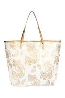 S28-8-2-MB0126WH - GOLD FOIL PAISLEY TOTE BAG WHITE/6PCS
