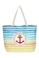 S29-4-5-MB0127NV - STRIPE ANCHOR TOTE BAG NAVY/6PCS