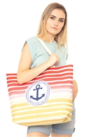 S29-4-5-MB0127RD - STRIPE ANCHOR TOTE BAG RED/6PCS