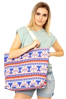 S29-4-5-MB0128 - STAR & STRIPE AZTEC TOTE BAG /6PCS