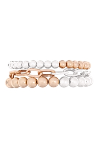 S4-6-2-MB4104TT - CCB CHAIN MIX BRACELET - GOLD SILVER/6PCS