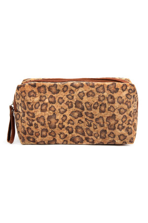 S3-4-2-AMBG1109BR - LEOPARD CORK PRINTED COSMETIC BAG - BROWN/6PCS