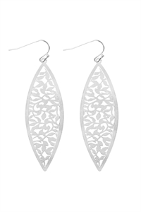 S22-11-5-ME10058RD - FILIGREE MARQUISE SHAPE FISHHOOK EARRINGS - SILVER/6PAIRS