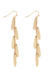 S22-11-5-ME10126WG - OVAL CHAIN CLUSTER DROP FISH HOOK EARRINGS - MATTE GOLD/6PAIRS