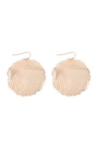S25-6-4-ME10135GD-SEA CORAL ROUND FILIGREE HOOK EARRINGS-GOLD/6PCS