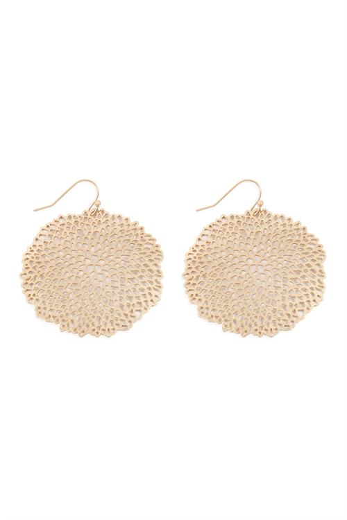 S25-6-4-ME10135WG-SEA CORAL ROUND FILIGREE HOOK EARRINGS-MATTE GOLD/6PCS