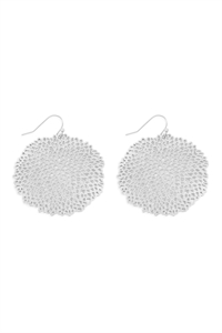 S25-6-4-ME10135WS-SEA CORAL ROUND FILIGREE HOOK EARRINGS-MATTE SILVER/6PCS