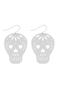 S25-6-4-ME10161RD-SKULL COATED FILIGREE HOOK EARRINGS-SILVER/6PCS