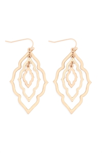 S24-1-4-ME10235MG-GD-MOROCCAN GRAIN LINK TWO TONE EARRINGS-MATTE GOLD-GOLD/6PCS