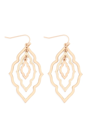 S17-12-4-ME10235MG-GD-MOROCCAN GRAIN LINK TWO TONE EARRINGS-MATTE GOLD-GOLD/6PCS
