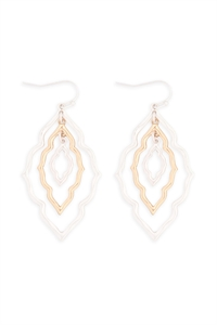 S24-1-4-ME10235MS-GD-MOROCCAN GRAIN LINK TWO TONE EARRINGS-MATTE SILVER GOLD/6PCS