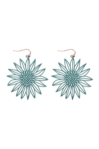 S1-2-3-ME10238PAT - LASER CUT SUNFLOWER FISH HOOK EARRINGS-TURQUOISE/6PCS
