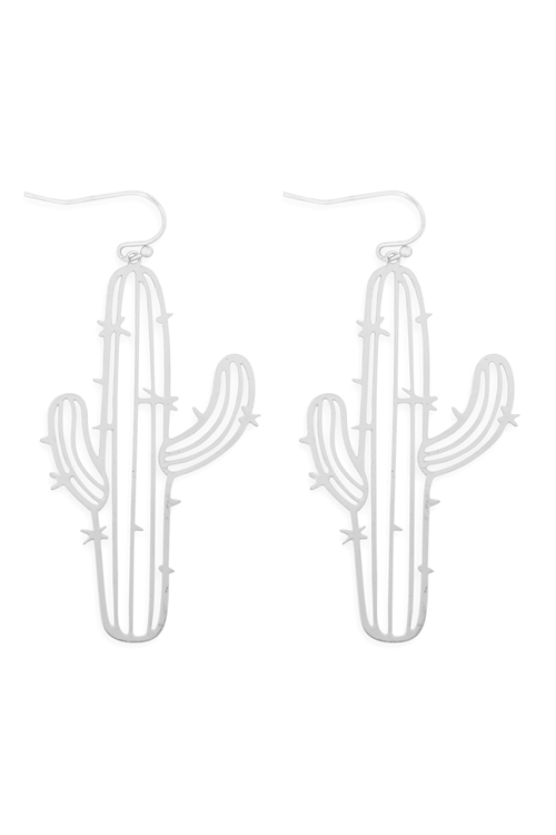 S1-2-3-ME10239MS - LASER CUT CACTUS EARRINGS-MATTE SILVER/6PCS