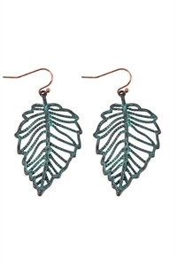 S25-6-4-ME10271PAT-LEAF FILIGREE EARRINGS-BURNISH TURQUOISE/6PCS