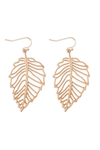 S25-6-4-ME10271WG-LEAF FILIGREE DANGLE DROP HOOK EARRINGS-MATTE GOLD/6PCS