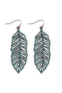 S25-6-4-ME10272PAT-LEAF FILIGREE EARRINGS-BURNUSH TURQUOISE/6PCS