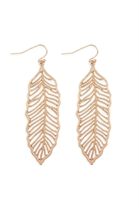 S25-6-4-ME10272WG-LEAF FILIGREE DROP HOOK EARRINGS-MATTE GOLD/6PCS