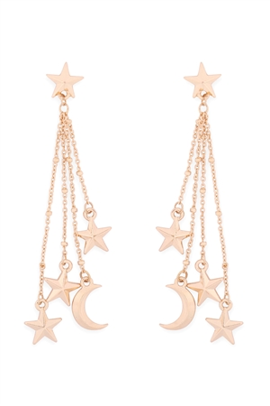 S1-2-3-ME10299GD - STAR & MOON CHAIN POST DANGLE EARRINGS-GOLD/6PCS