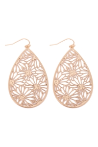 S5-5-2-ME10348GD - FLOWER FILIGREE EARRINGS - GOLD/6PCS