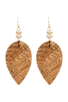 S22-7-2-ME20014BRW - TEARDROP EMBELLISHED CORK LEATHER EARRINGS - BROWN /6PCS