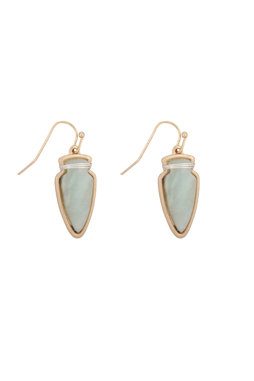 S23-4-4-ME3118AMZ-ARROW HEAD SEMI STONE EARRINGS-AMAZONITE/6PCS