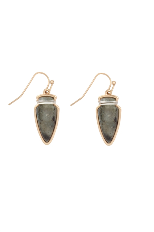 S23-4-4-ME3118GRY-ARROW HEAD SEMI STONE EARRINGS-GRAY/6PCS