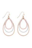 S17-12-4-ME3133MLT-MULTICOLOR TEARDROP TEXTURED LAYERED DROP EARRINGS/6PCS