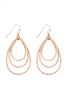 S17-11-5-ME3133WG- MATTE GOLD TEARDROP TEXTURED LAYERED DROP EARRINGS/6PCS