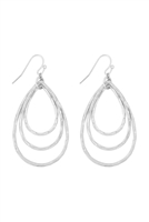S17-11-5-ME3133WS- MATTE SILVER TEARDROP TEXTURED LAYERED DROP EARRINGS/6PCS
