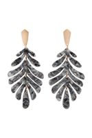 S24-1-4-ME4175GDDGRY - CAST RESIN LEAF DROP EARRINGS - DARK GRAY/6PCS