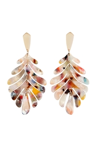 S24-1-4-ME4175GDMLT - CAST RESIN LEAF DROP EARRINGS MULTICOLOR/6PCS