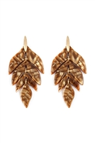 N-S22-9-2-ME4418BRW - LINKED RESIN LEAF SHAPE EARRINGS - BROWN /6PCS