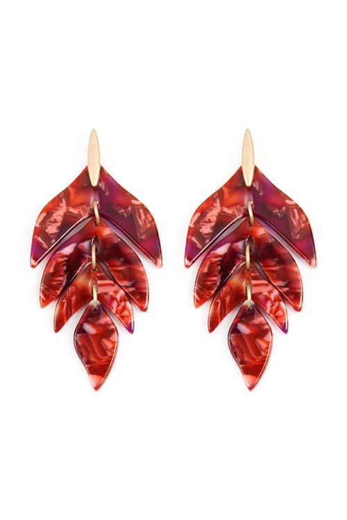 N-S22-9-2-ME4418XBGD - LINKED RESIN LEAF SHAPE EARRINGS - BURGUNDY /6PCS