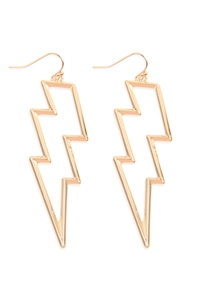 S22-11-5-ME4440GD - OPEN CAST LIGHTNING EARRINGS - GOLD/6PAIRS