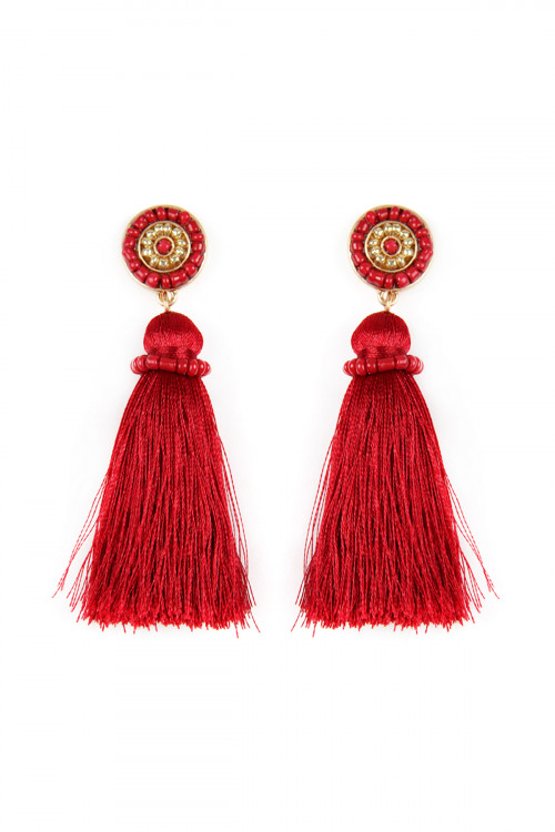 A1-2-4-AME4481WGBGD BURGUNDY CIRCLED SEED BEADS AND TASSEL EARRINGS/6PAIRS