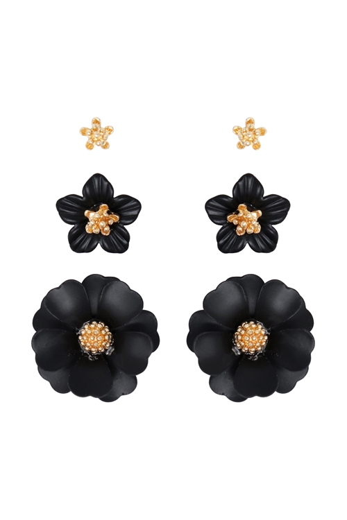 S1-1-4-ME4590GD-BK - 3 SET FLOWER POST EARRING - GOLD BLACK/6PCS