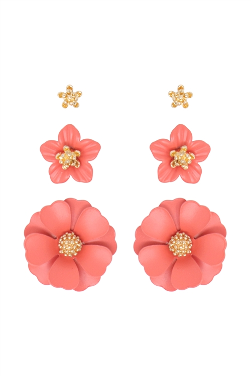 S1-1-4-ME4590GD-COR - 3 SET FLOWER POST EARRING - GOLD CORAL/6PCS
